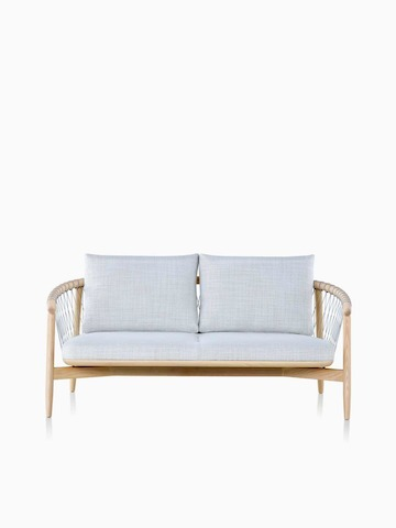 A light-coloured Crosshatch Settee featuring grey upholstery and a white ash frame.