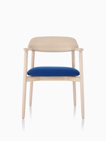 Crosshatch Side Chair with wood frame and blue seat.