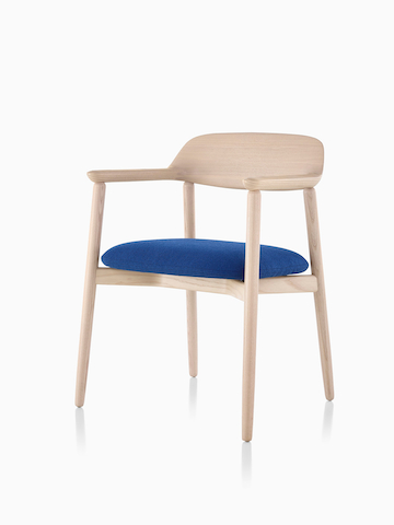 Crosshatch Side Chair with wood frame and blue seat. Select to go to the Crosshatch Side Chair product page.
