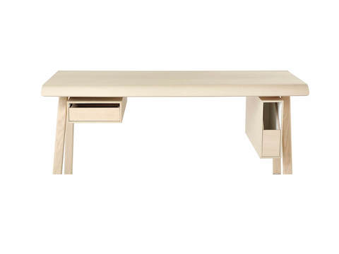 Distil Desk from Herman Miller in light natural wood with drawer and organizer, molded plywood top and solid wood legs.