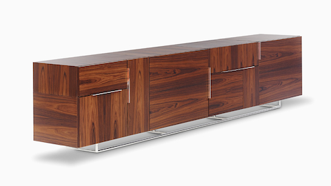 Angled view of a Domino Storage credenza consisting of eight storage modules.