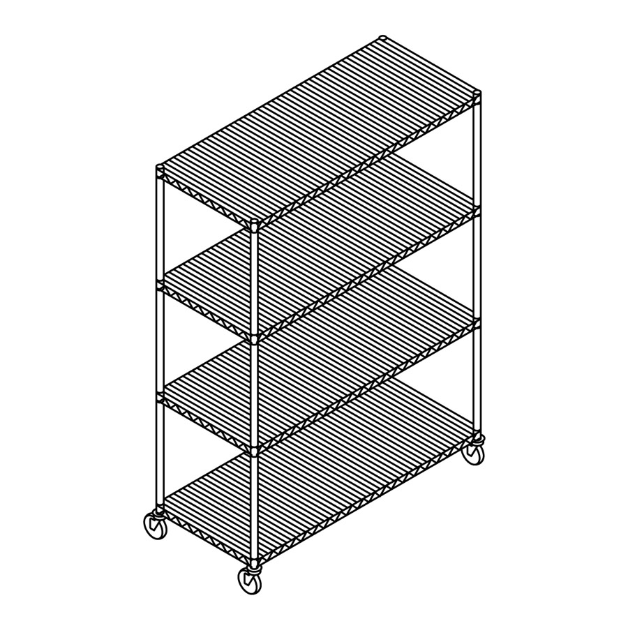 A line drawing of Open Wire Shelving