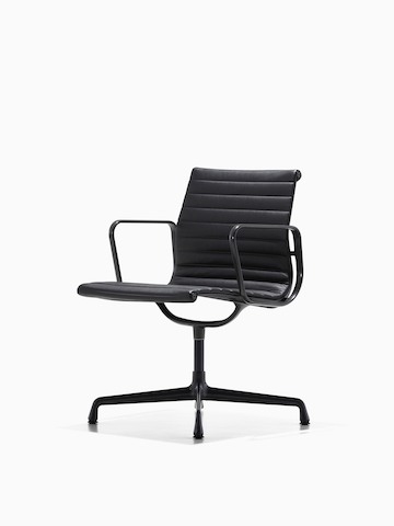 Black Eames Aluminum Group mid-back management chair, viewed from a 45-degree angle.
