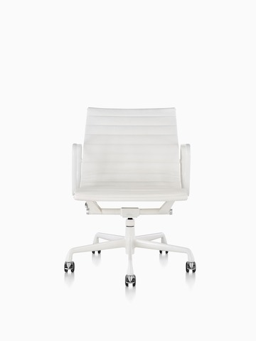 White Eames Aluminum Group mid-back management chair, viewed from the front.