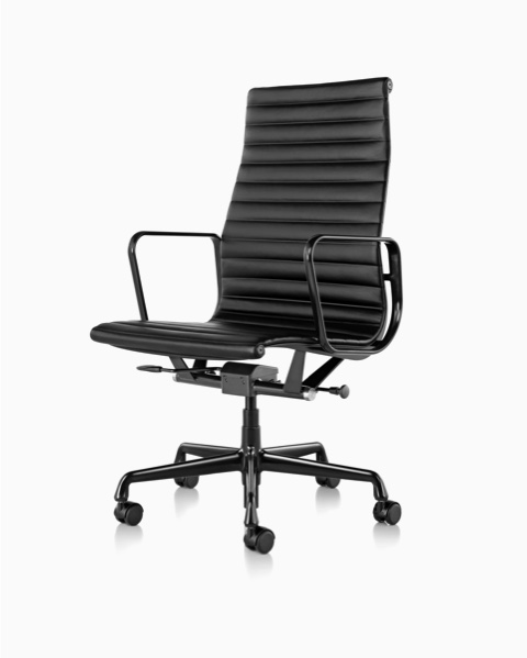 Eames Aluminum Group executive chair in black leather.