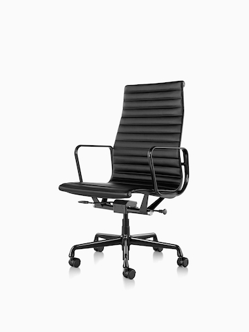 Black Eames Aluminum Group Chair. Select to go to the Eames Aluminum Group Chairs product page.