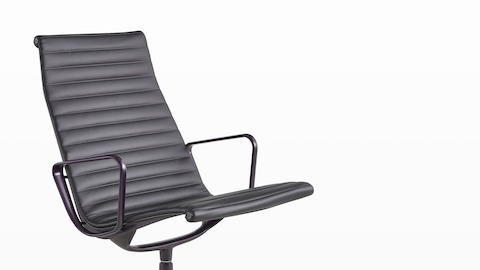 Eames Aluminum Group high-back executive chair in black leather.