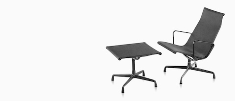 An Eames Aluminum Group outdoor lounge chair and ottoman in a black weave fabric.  sc 1 st  Herman Miller & Eames Aluminum Group - Outdoor Seating - Herman Miller