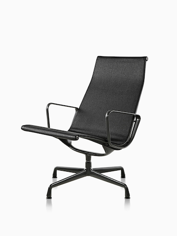 Black Eames Aluminum Group outdoor chair. Select to go to the Eames Aluminum Group Chairs Outdoor product page.