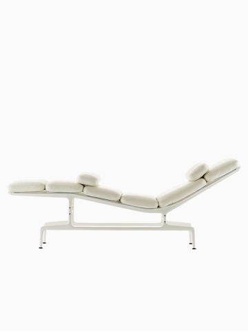 White Eames Chaise. Select to go to the Eames Chaise product page.