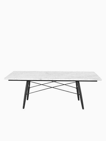 A rectangular Eames Coffee Table with a white top.