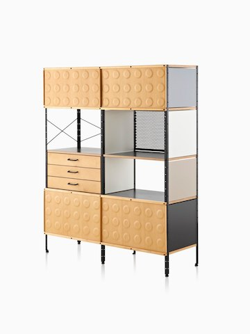 A mid-century modern Eames Storage Unit. Select to go to the Eames Desks and Storage Units product page.