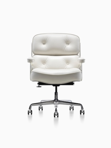 White leather Eames Executive Chair, viewed from the front.