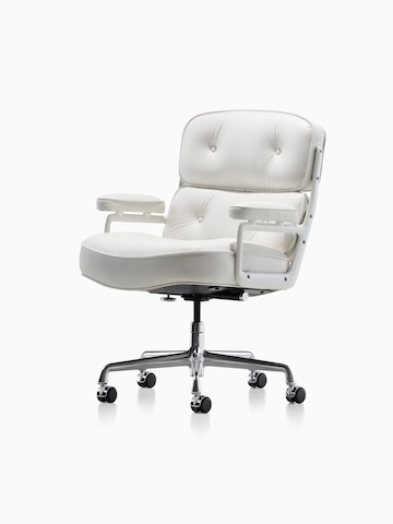 White leather Eames Executive Chair, viewed from a 45-degree angle.