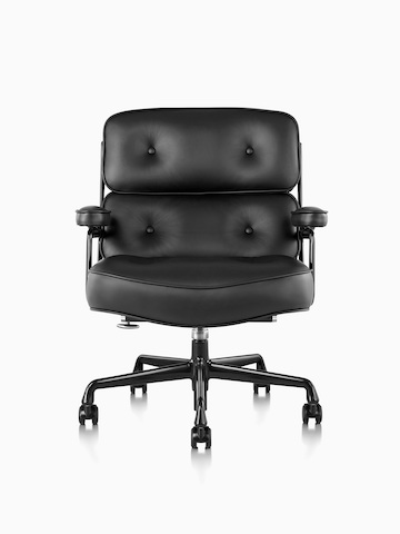 Black leather Eames Executive Chair, viewed from the front.