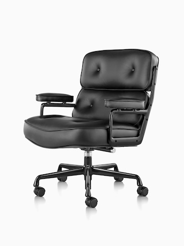 Black leather Eames Executive Chair, viewed from a 45-degree angle.