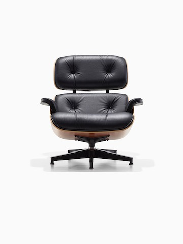 Black leather Eames Lounge Chair, viewed from the front.