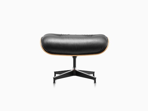 Black Leather Eames Ottoman, Viewed From The Front.