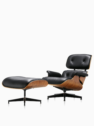 Black Eames Lounge Chair. Select to go to the Eames Lounge Chair and Ottoman product page.