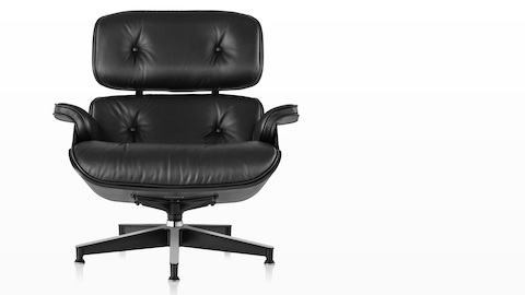 Black leather Eames Lounge Chair with a black shell, viewed from the front.