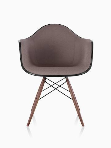 Eames Molded Fiberglass Armchair in Sepia Brown Hopsak with Walnut Dowel Legs.