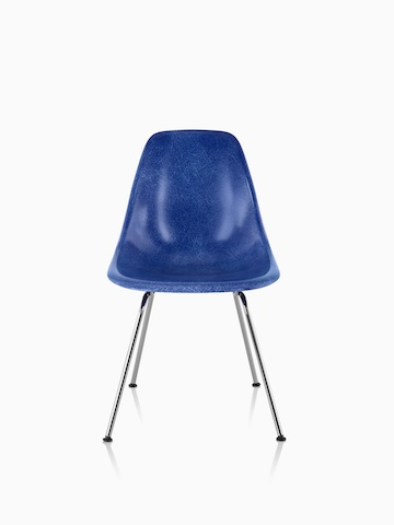 Blue Eames Molded Fiberglass side chair with four legs, viewed from the front.