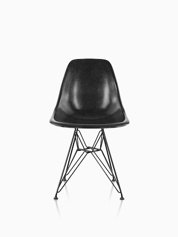 Black Eames Molded Fiberglass side chair with a wire base, viewed from the front.