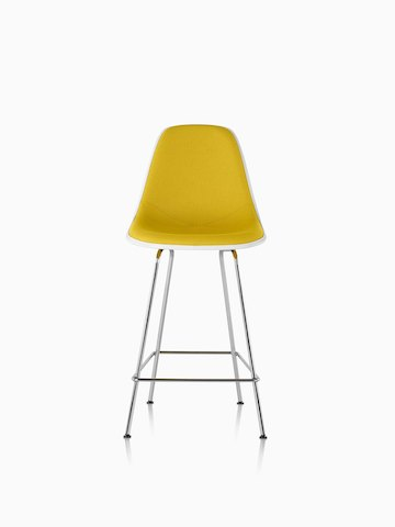Eames Molded Fiberglass Stool with yellow upholstery, viewed from the front.
