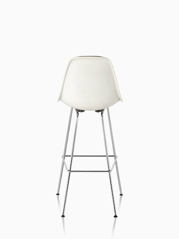 White Eames Molded Fiberglass Stool, viewed from the rear.