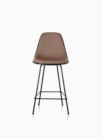 Black Eames Molded Fiberglass Stool with brown upholstery, viewed from the front.