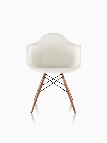 herman miller eames chair. White Eames Molded Plastic Armchair With Dowel Legs, Viewed From The Front. Herman Miller Chair