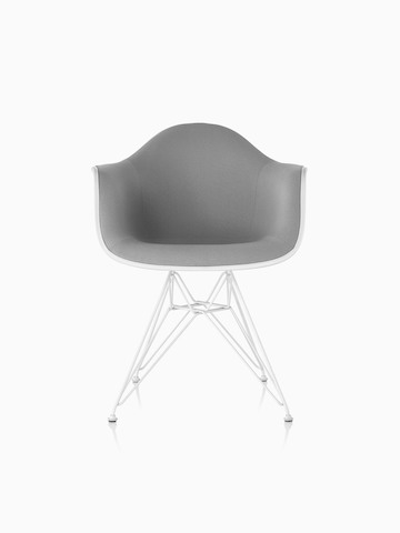 Gray upholstered Eames Molded Plastic armchair with a wire base, viewed from the front.