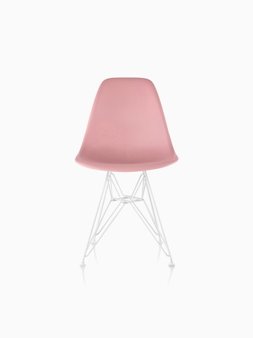 Pink Eames Molded Plastic side chair with a wire base, viewed from the front.
