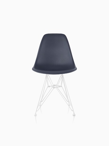 Navy blue Eames Molded Plastic side chair with a wire base, viewed from the front.
