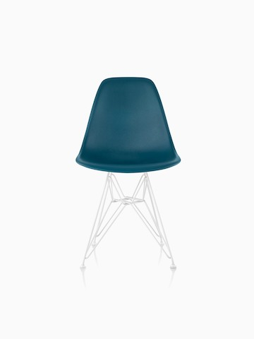 Teal Eames Molded Plastic side chair with a wire base, viewed from the front.