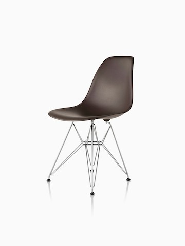 Brown Eames Molded Plastic side chair with a wire base, viewed from a 45-degree angle.