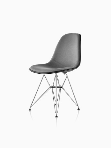 Gray upholstered Eames Molded Plastic side chair with a wire base, viewed from a 45-degree angle.