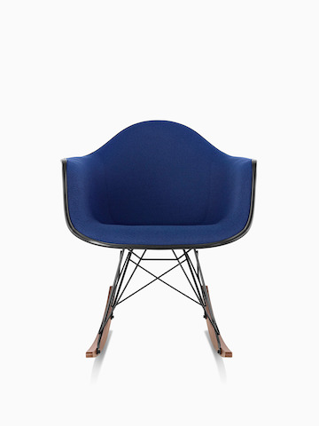 Blue Eames Molded Plastic rocker.