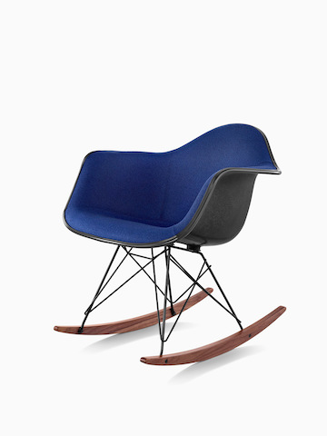 Blue Eames Molded Plastic rocker. Select to go to the Eames Molded Plastic Chairs product page.