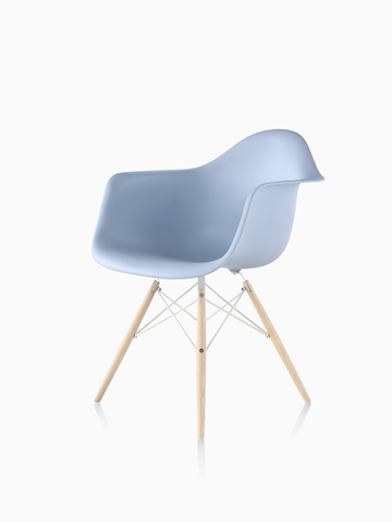 Light blue Eames Molded Plastic Chair with dowel legs.  Select to go to the Eames Molded Plastic Chairs product page.