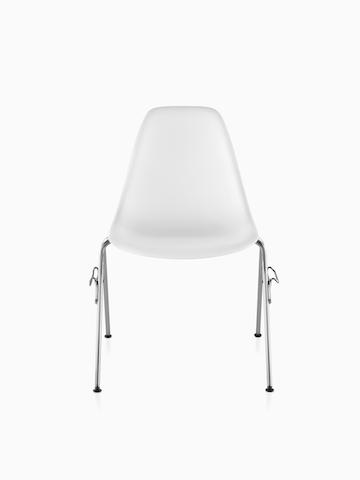 White Eames Molded Plastic Chair with stacking base.
