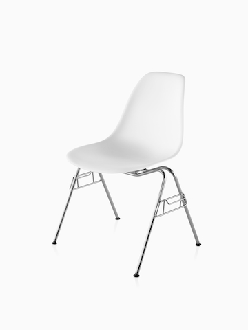 White Eames Molded Plastic Chair with stacking base. Select to go to the Eames Molded Plastic Chairs product page.