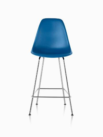 Blue Eames Molded Plastic Stool, viewed from the front.