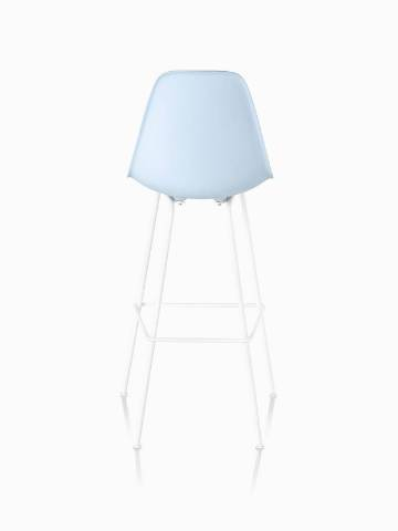 Light blue Eames Molded Plastic Stool, viewed from the rear.