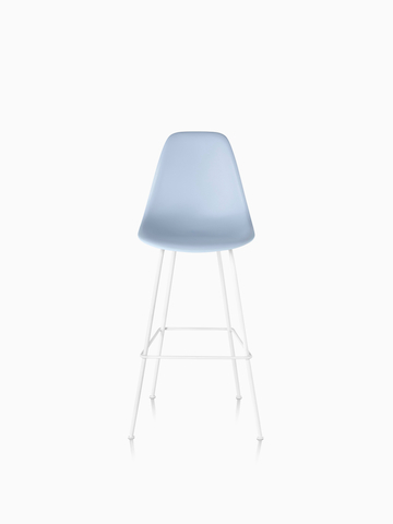 Light blue Eames Molded Plastic Stool.