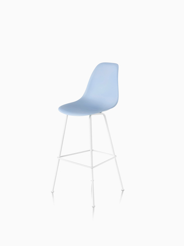 Light blue Eames Molded Plastic Stool. Select to go to the Eames Molded Plastic Stool product page.