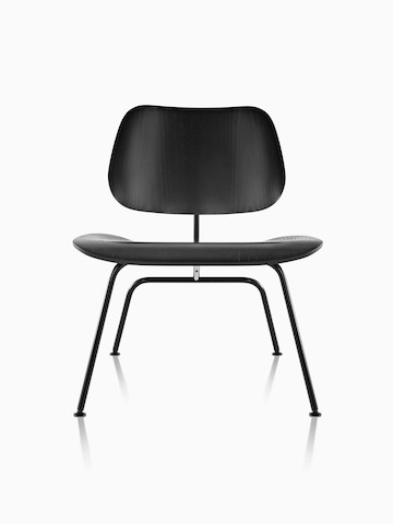 Black Eames Molded Plywood Chair with steel legs, viewed from the front.