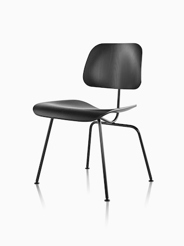 Black Eames Molded Plywood Chair with steel legs, viewed from a 45-degree angle.