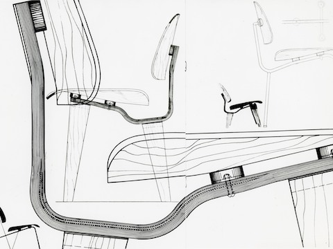 Design sketches of the Eames Molded Plywood Chair.
