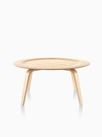 A round Eames Molded Plywood Coffee Table.